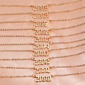 Moda nascita Numero Numero Collana pendente Collana regalo di compleanno Collana in acciaio inox per gioielli da donna Anno speciale 1980-2019