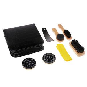 7 In 1 Shoe Shine Care Kit With Leather Storage Case - Shoe Polish Brush Set
