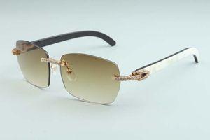 Заводская заводов Новейшая A9-B3524012 Diamond Натуральный Смешанный Рог Алмазные Линзы Солнцезащитные Очки Мода Мужчины и Женщины Безграничные Солнцезащитные очки