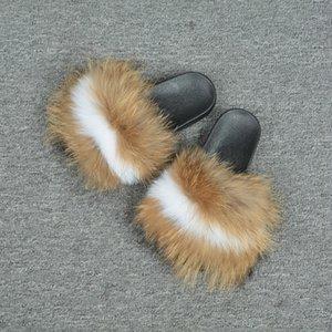 2019 Yeni Karışık Renkli Kürk Terlik Yumuşak Kabarık Fox Kürk Slaytlar Güzel Kalite Kadınlar Sandalet