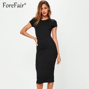 Forefair Women Summer Dress 2018 Manica corta O Neck Cotton Abiti da donna Casual Army Green Nero Midi Slim Bodycon Dress Y181227