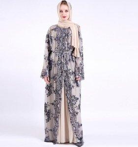 Heavy work embroidery Sequin Abaya Kimono Cardigan Muslim Dress women Kaftan Dubai Turkey Caftan Islamic Clothing Robe a1387