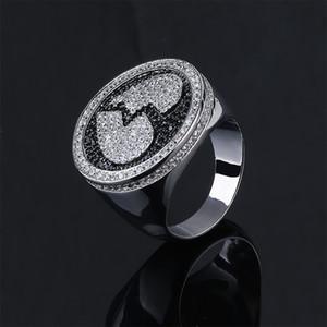 Herzzerreißender Ring Hip-Hop Herrenring Broken Heart Patterns Zirkonia Ice Out Bling Schwarz Silber Ring