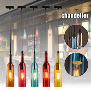 Vintage chandelier lighting E27 Red Wine Bottle Glass LED Pendant Light Restaurant Cafe Bar Hotel Wine Bottle Hanging Lamps