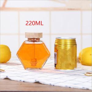 Vetro Miele Jar Per 220ML / 380ml Mini Piccolo Honey Bottiglia Contenitore Pot Con bastone di legno Cucchiaio EEA1353-6