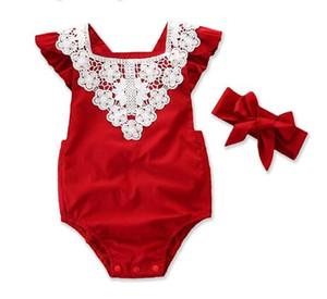 Nouveaux vêtements d'été enfants nourrissons costume une pièce dentelle rouge haber + chapellerie deux pièces