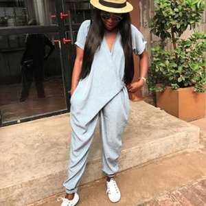 2020 New Summer Women's Loose Jumpsuit with Pockets Office Ladies overalls Sleeve V Neck One Piece Harem Pants Romper
