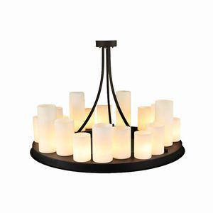 Moderne runde Leuchter-schwarze Metallpendelleuchte D90cm 70cm runde Kerze Retro für Wohnzimmer-Garten-Ausgangsbeleuchtung G110