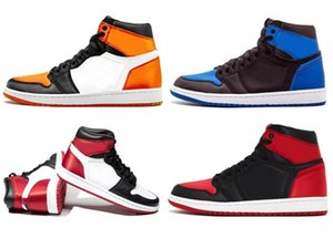 Mejor calidad 1 Satin Royal Blue 1S Satin Roto Tablero Black Toe Baloncesto Zapatos de Baloncesto Hombres Mujeres Deportes Zapatillas deportivas con caja