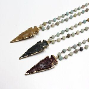 Natürliche Amazonit Steine Statement Halsketten Bohemian Tribal Pfeil Schmuck lange Kette Horn Anhänger Halskette Spring Fashion
