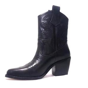 Дизайнерские зимние сапоги Western Cowboy Ботильоны из 100% натуральной кожи с вышивкой Пинетки с острым носом Роскошная женская обувь с коробкой US4-10