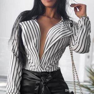 Womens Designer rayé imprimé Chemisier sexy Femme col en V profond Shirts Printemps Casual Femme en vrac Vêtements
