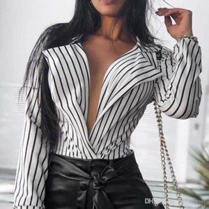Mulher designer Striped Impresso Blusa Sexy Feminino V profundo Neck camisetas Primavera Casual Feminino roupas folgadas