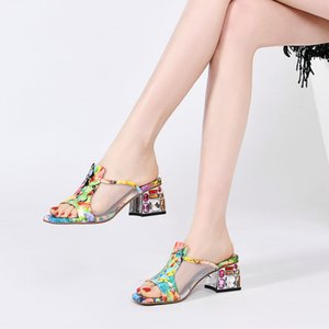 20200528 Cool slippers with new style in spring and summer, color matching leather, crystal color, diamond thick heel, middle heel and back