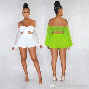 Piece Femmes Shorts Ensembles de couleur solides manches longues Sheer taille haute Femmes 2PCS Ensembles Perspective Sexy Deux