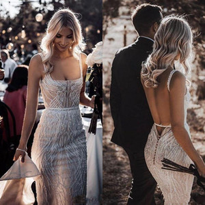 Luxurious 2020 Berta Boho Mermaid Brautkleider Spitze Pailletten Perlen Sexy Backless Brautkleid Sweep Zug Boho Vestidos De Novia