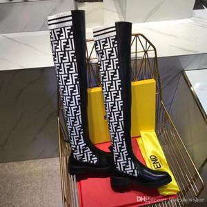 Mode tricot chaussures de femmes de luxe lettre sur les bottes de genou 2020 nouvelle mode des femmes de la cuisse bottes chaussettes de haute qualité avec boîte