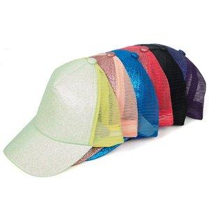 Lentejuelas sombrero de béisbol de verano al aire libre de protección solar del brillo del Snapback capsula del partido Cap Cola de caballo brillo gorro 5colors RRA3231