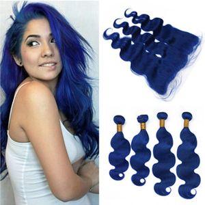 Dark Blue Body Wave Brasilianisches Reines Haar 4 Bundles und Frontal 5 Stücke Los Pure Blue Body Wellenförmige Menschenhaar Spinnt mit 13x4 Spitze Frontal