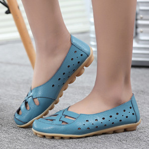 New Mulheres Flats de couro genuíno Shoes Slip On Ballet Flats Mocassins Mocassins oco Sapatas da bailarina mulheres moda casual