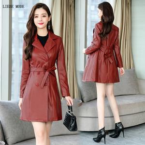 Womens Long Faux Leather Trench Coat Mujeres Negro Rojo Pu de cuero de doble botonadura Chaqueta Chaqueta de las señoras Slim Fit Windbreaker 4XL