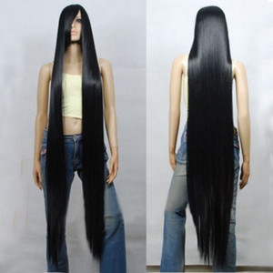 ePacket free shipping >80CM 100CM 120CM 150CM 200CM Black Long Straight Cosplay Party Wig Hair