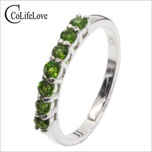 100% anel naturais Chrome Diopsídio para 925 engate 7 pcs VVS diopside anel de prata pedra preciosa presente romântico simples