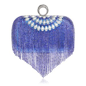 2019 Popular Fashion Solid Color Hollow Women Handbag Diamond Process Water Wave Band Pic Dinner Evening Fringed bag