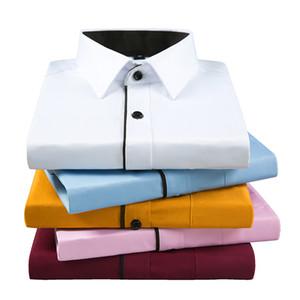 2020 Erkekler Casual İş Uzun Kollu Katı Renk Marka Gömlek siyah şeritler ilkbahar ve sonbahar elbise gömlek dar kesim Aoliwen