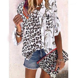 Womens Designer imprimé léopard Chemises lambrissé Blouses avec le bouton Mode Vêtements pour femmes col montant Contrast Casual Hauts Couleur
