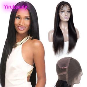 Pelucas peluca llena del cordón del cordón del pelo brasileño de la Virgen 8-22inch pelo humano recto sedoso completo la tapa del cordón cierres Pre desplumados color natural