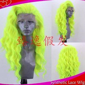 Parrucca anteriore sintetica del merletto delle parrucche lunghe piene dei capelli di lunghezza piena dei capelli di Wave della fibra di alta temperatura verde di MHAZEL per le donne