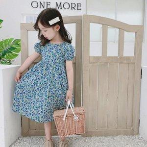 2020 Summer New print short sleeve sexy backless Girls sweet cute princess dress Korean fashion cotton dress for girls L281