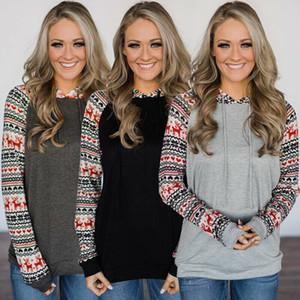 2019 neue einfache Christmas Holiday Hoodies Sweatshirts Frauen Printed Langarm-Kapuzen Pullover Damen Muster Tops