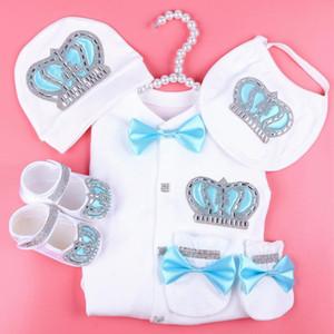 erkekler için belirlenen erkek bebek tulum pamuk yeni doğan bebek kıyafetleri çocuk 0-3 aylık elmas taklidi taç jurken beyaz renk jurkje pijama