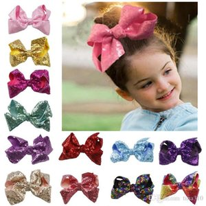 16 Style 6 inch Rainbow Sequin Bow Hair Clip Europe and America lovable Baby Rainbow Bling bows Hairpin fashion Jojo Bows Hairpin T9I00262