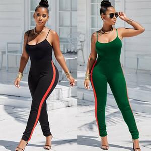 2020 Sexy Mulheres Listrado Macacão Side Set Yoga Correndo Ginásio de Esportes da aptidão Leggings Pants mangas Rompers Verão Treino