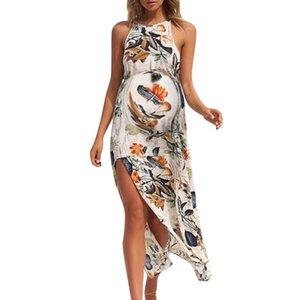 Women Maternity Dresses Long Floral Print Sleeveless Elegant Summer Nursing Dress Casual Pregnant Clothes Vetement Femme 19jun11