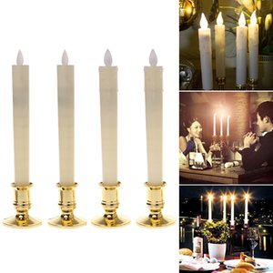 2Pcs Electric Flickering Flameless Led Candle Lights With 2 Removable Gold Bases