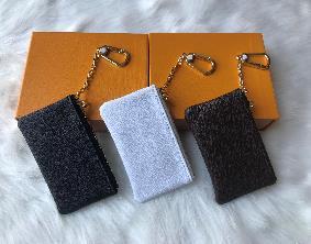 alta calidad con el color de piel caja 4 bolsa de la llave Damier tiene bolsa famosa mujeres clásicas titular de la clave monedero pequeños artículos de cuero