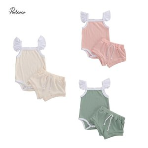 2020 Lovely 0-18M Newborn Infant Baby Girl Clothes knited 2pcs Flare Sleeve Romper Tops+High Waist Shorts Summer Set 3 Colors