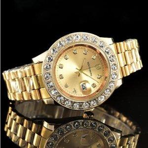 Relogio Masculino 41mm grand cadran Mens Diamant Montres Femme Top Marque de luxe Quartz Hommes Or Montre Jour Date Horloge a1 Montre cadeau