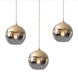 Lustre moderne simple sphérique plaqué or sphérique lustre en verre lustre miroir boule lustre luminarias livraison gratuite