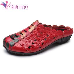 Xiuteng 2018 Chinelos de Verão Sapatos Baixos de Couro Genuíno Mulheres Slides Cut Out Handmade Flor Confortável RoundToes Mulheres Sapatos