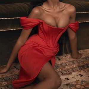 Fuori dal vestito rosso Split vita alta laterale Split primavera dei vestiti Femminile 2020 signore di estate Vestiti di spalla delle donne sexy senza spalline