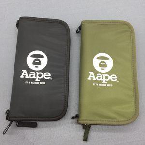 2018 Kart Sahibi Aape Ape Cüzdan Pasaport Çanta Depolama Cüzdan Siyah Ve Yeşil Japonya Stili Moda