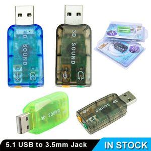 Câbles Connecteurs adaptateur audio 3D Carte son 5.1 USB à 3.5mm casque micro stéréo jack casque