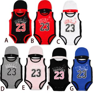 Verão sem mangas NO.23 bebê Romper Basketball confortável algodão Roupa Rompers Crianças crianças Esportes com Cap