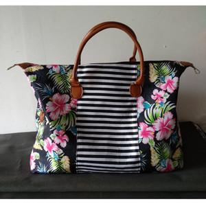 Floral Fine Settimana Da Borse Camo rappezzatura a strisce viaggio Duffle Bag di grande capienza Totes Borse con PU Handle Bag storage LJJO7076-6