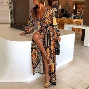 Bohemian Floral Print Summer Dresses For Women Gold Color Long Sleeve V Neck Maxi Dress Women Beach Holiday Club